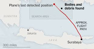 map of surabaya where airasia flight 8501 was lost and debris found the new york
