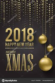 Decoration Happy New Year Greeting Card Invitation With Happy New Year 2018 And Christmas