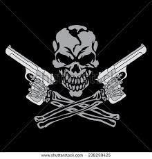 vector smiling skull guns design stock vector 238259425