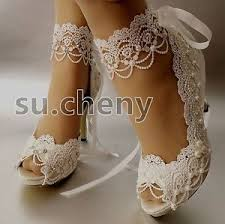 wedding shoes bridal 3 4 heel white ivory satin lace ribbon open toe wedding shoes