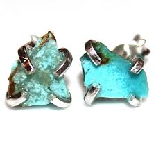 turquoise studs turquoise stud earring silver earring turquoise jewelry free