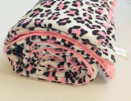 Cheetah Print Blanket Leopard Minky Baby Blanket Animal Print Pink Chenille Dot Back