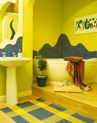 yellow bathroom paint ideas with wall art and tiles yellow