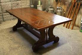 Dining Room Tables With Built In Leaves Hand Crafted Custom Trestle Dining Table With Leaf Extensions