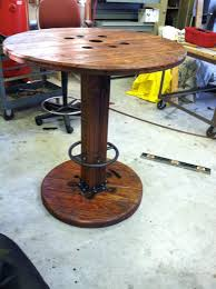 bar height table base with foot ring high bar top cable spool table cable spool tables cable and bar
