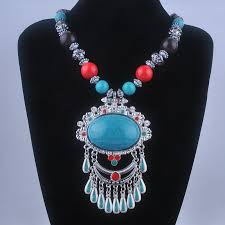 big pendant necklace images Tibetan style statement necklaces wood chain turquoise big pendant jpg