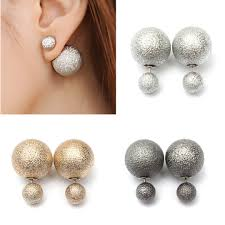 two sided earrings women runway sided pearl big ear