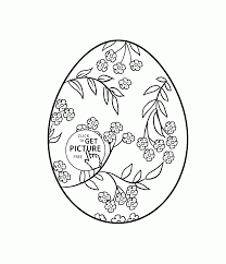 beautiful easter egg with pattern flowers coloring page for kids