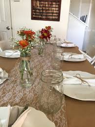 kraft paper tablecloth with burlap runner and dairy jugs vases kraft paper tablecloth with burlap runner and dairy jugs vases