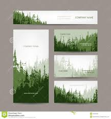 Landscape Business Cards Design Business Cards Design With Green Forest Background Stock Vector