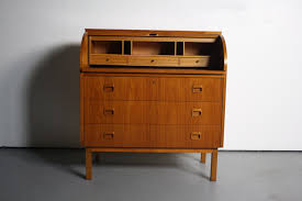 Swedish Secretary Desk by Mid Century Danish Modern Roll Top Secretary Teak Desk Attributed