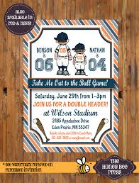 joint baseball birthday party invitation brother baseball