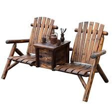 Wooden Patio Furniture Outsunny Wooden Outdoor Two Seat Adirondack Patio Chair W Ice