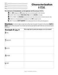 indirect characterization s t e a l method handout