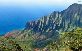 Hawaii mountains images Mountain valley landscape kalalau hawaii mountains background jpg