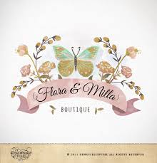 logo custom premade watercolor butterfly flowers design for boutique