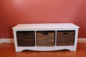 rectangle white wooden shoe storage bench with three dark brown