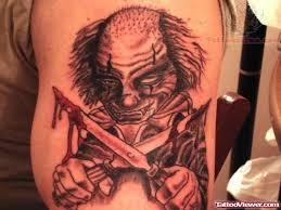 evil clown with gun gangster tattoo design tattoo viewer com