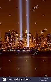 world trade center lights new york city world trade center blue lights stock photo royalty