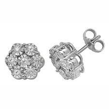illusion earrings diamond of diamonds illusion set flower style stud earrings