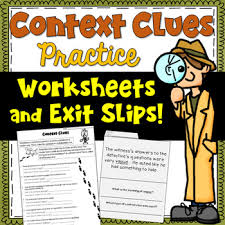 context clues worksheets and exit tickets focusing on 5 types of