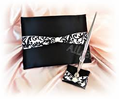 guest book and pen set wedding guest book black and white damask guest book and pen set