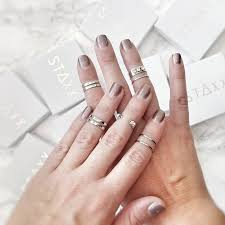 midi ring set minimalist silver midi rings set of five by staxx