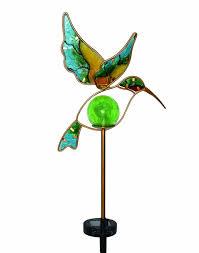 Hummingbird Garden Decor Solar Hummingbird Garden Stake Glass Led Light Lawn Outdoor Decor