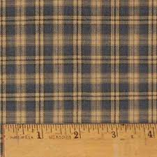 vintage blue 3 homespun cotton plaid fabric