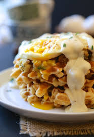 leftover thanksgiving brunch waffles with fried egg gravy