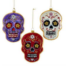 day of the dead glass skull ornaments store