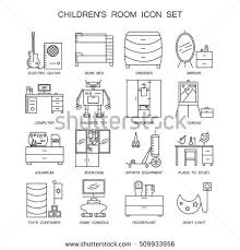 Children S Room Interior Images Childrens Room Icon Set Collection High Stock Vector 509933944