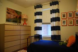 Fascinating Curtains For Narrow Bedroom Windows With Blue And by Ideas U0026 Tips Horizontal Striped Curtains With Big Window For Soft