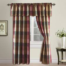 united curtain co burgundy plaid window treatments bedbathhome com