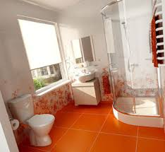 white and orange bathroom design ideas with white bathroom floor