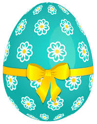 easter egg sky blue easter egg with flowers and yellow bow png picture