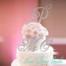 5 inch monogram cake topper decorated with swarovski crystals in