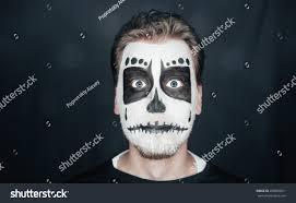Skeleton Makeup Halloween by Portrait Surprised Young Man Skull Makeup Stock Photo 208829011
