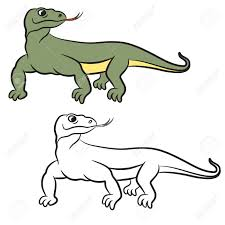 illustration of varan komodo dragon coloring book royalty free