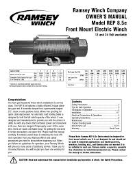 ramsey winch rep 8 5e user manual 12 pages