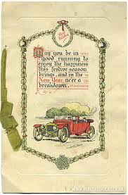 1920s 1950s car related and new year s cards poem