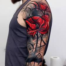 Mens Tattoo Cover Up Ideas Abstract Poppies Mens Upper Arm Cover Up Best Tattoo Design Ideas