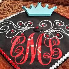 monogram graduation cap monogram vinyl decal for graduation cap by embellishboutiquellc