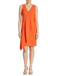 ralph lauren collection lucianna draped v neck dress in orange lyst