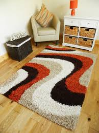 Rust Shag Rug Rust Orange Brown Beige Cream Thick Shaggy Rug 5cm Pile Non Shed