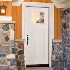 Fiberglass Exterior Doors Lowes by Decor 6 Lite Clear Craftsman Home Depot Entry Doors In White For