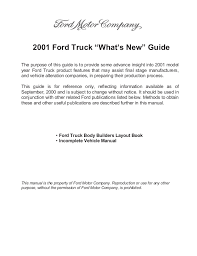 ford truck whats new 2001