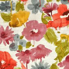 Roman Upholstery Coral Grey Yellow Artistic Floral Upholstery Fabric Pink