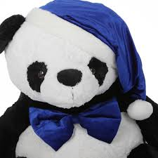 blue santa hat xin stuffed panda in blue santa hat and bow tie 42in