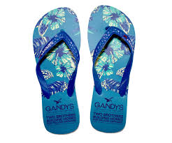 bird of paradise blue flip flops